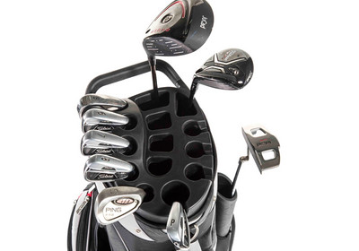9 compartments with club head slots for irons, 5 compartments for woods and putter.